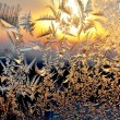 Frost and sun on winter window — Stock Photo