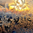 Frost and sun on winter window — 图库照片