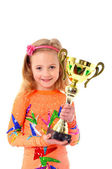Little girl holding sport cup — Stock Photo