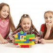 Girls playing with constructor - Stock Photo