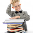 Little professor with glasses and books — Stock Photo
