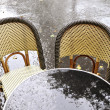 Terrace of a restaurant after the rain — Stock Photo