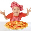 Stock Photo: Little girl preparing homemade pizza