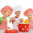 Stock Photo: Three little chefs
