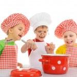 Three little chefs — Stock Photo
