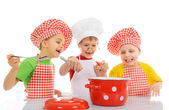 Three little chefs — Stock Photo