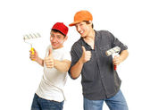 Funny house painters — Stock Photo