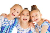 Portrait of little happy beautiful gymnasts — Stock Photo