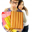 Young couple  tired of shopping — Stock Photo