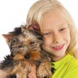 Happy child playing with dog — Foto Stock