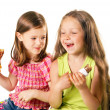 Little funny girls with the ice-cream — Stock Photo