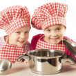 Stock Photo: Two little funny chefs
