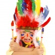 Little messy artist indian costume — Stock Photo #34406943