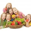 Stock Photo: Happy children with vegetables