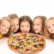 Happy kids with big pizza — Stock Photo