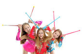 Happy sporty children with gymnastic clubs — Photo