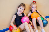 Funny little gymnasts — Stock Photo