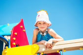 Funny kid outdoors — Stockfoto