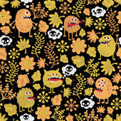 Cute monsters seamless texture with yellow leaves. — Stock Vector