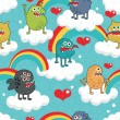 Cute monsters on clouds seamless texture. — Stockvectorbeeld