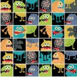 Cute monsters seamless texture with windows. — Stock Vector