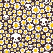 Stok Vektör: Camomile and skull seamless pattern.