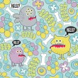 Cute monsters microbes seamless texture with bones and flowers. - Image vectorielle