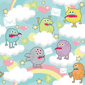 Cute monsters on clouds seamless texture with envelopes. — ストックベクタ