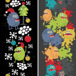 Two vertical seamless patterns with monsters, paint and snow. — Stock Vector #12174135