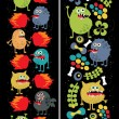 Two vertical seamless patterns with monsters, plants and fire. - Stok Vektr