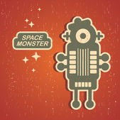 Monstruo vintage. — Vector de stock