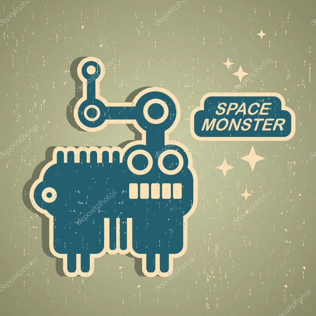 Vintage monster. Retro robot illustration in vector. — Stock Vector #12359027