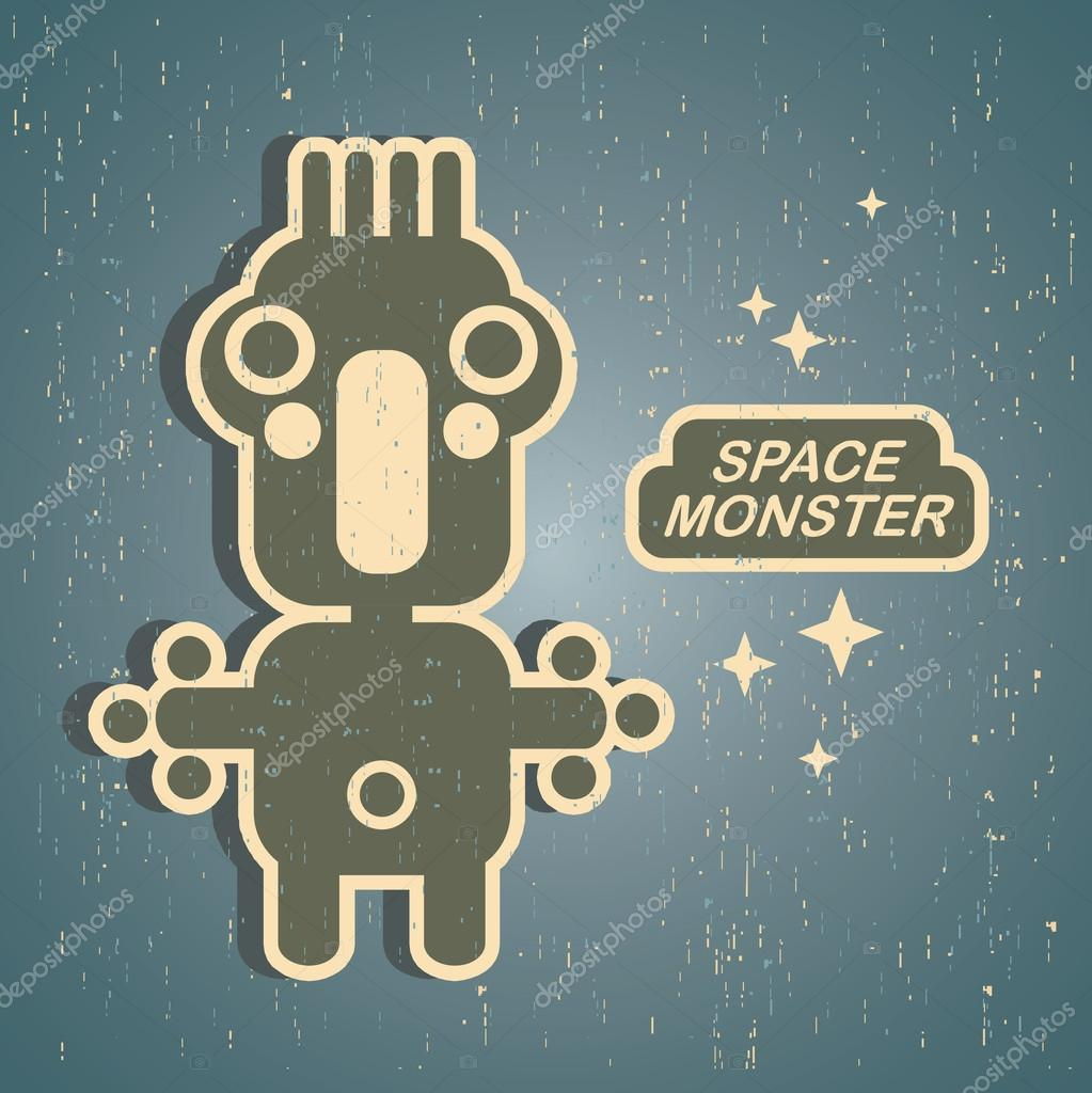 Vintage monster. Retro robot illustration in vector.  Stock Vector #12359030