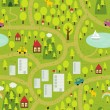 Cartoon map seamless pattern of small town and countryside. — Grafika wektorowa