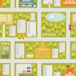 Cartoon map seamless pattern of summer city. — Vector de stock