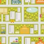 patrón sin costuras mapa de dibujos animados de la ciudad veraniega — Vector de stock