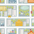 Royalty-Free Stock Vectorafbeeldingen: Cartoon map seamless pattern of winter city.