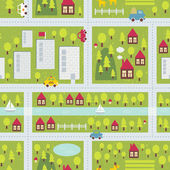 Cartoon map seamless pattern of small town and countryside. — Stock Vector