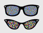 Retro eyeglasses with abstract pattern reflection in it. — Stock Vector