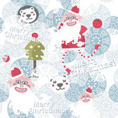 Christmas seamless background with cute Santa Claus. — Stock Vector