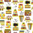 Beautiful pattern with owls and vases - 图库矢量图片