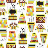 Vackra mönster med ugglor och vaser — Stockvektor