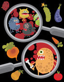 Magnifying glass and microbes in it. — Stock Vector