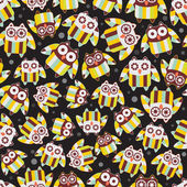 Seamless pattern with cute owls. — Stock Vector