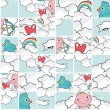 Stock Vector: Cute cupid in blue sky seamless puzzle pattern.