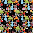 Seamless Christmas pattern in cell. — Stock Vector