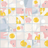 Seamless pattern with saving pigs and money. — Stock Vector