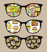 Retro sunglasses with cute owls reflection in it. — Stock Vector