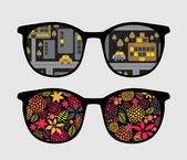 Retro sunglasses with night reflection in it. — Cтоковый вектор