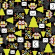 Seamless pattern with owls. — Imagen vectorial